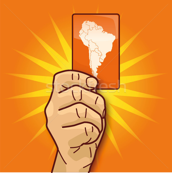 Hand showing a map of south america Stock photo © Ustofre9