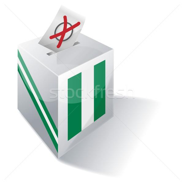 Oylama kutu Nijerya çapraz bayrak yağ Stok fotoğraf © Ustofre9