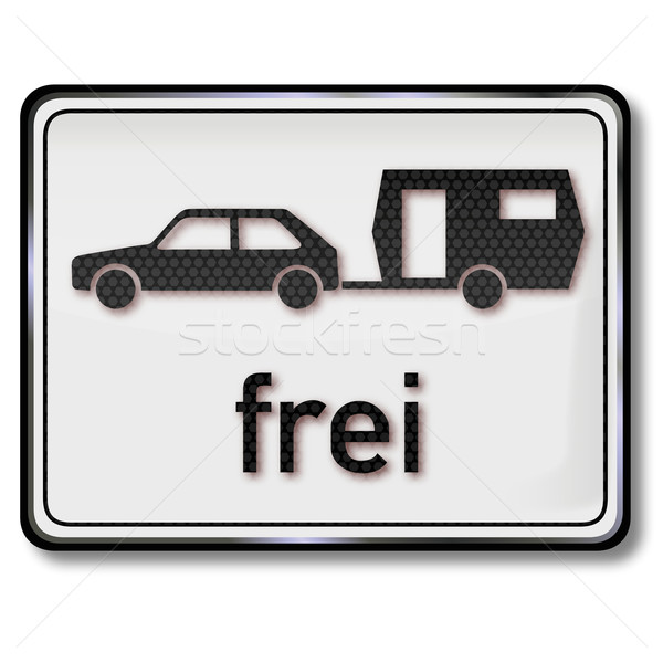 Traffic sign cars with a caravan are free Stock photo © Ustofre9