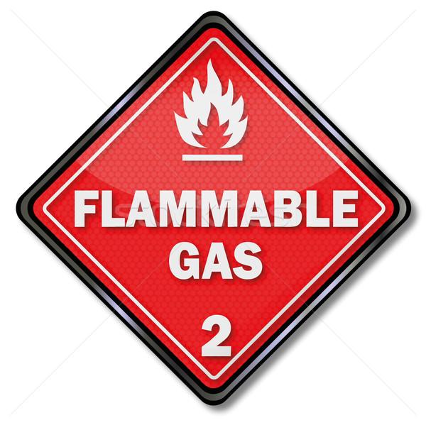 Veszély tábla gyúlékony benzin tűz felirat ipar Stock fotó © Ustofre9