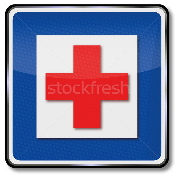 Traffic sign  hospital and first aid Stock photo © Ustofre9