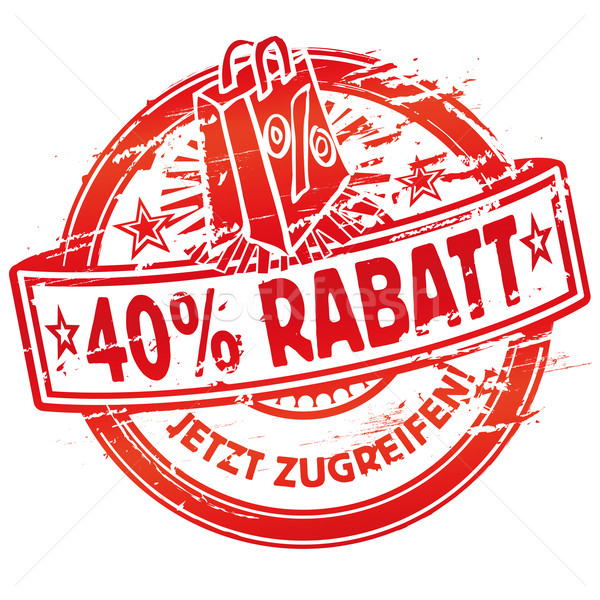 Rubber stamp 40% off and shopping bag Stock photo © Ustofre9