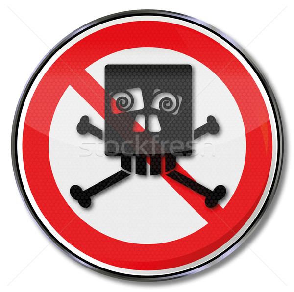 Prohibition sign with funny skull of squints  Stock photo © Ustofre9