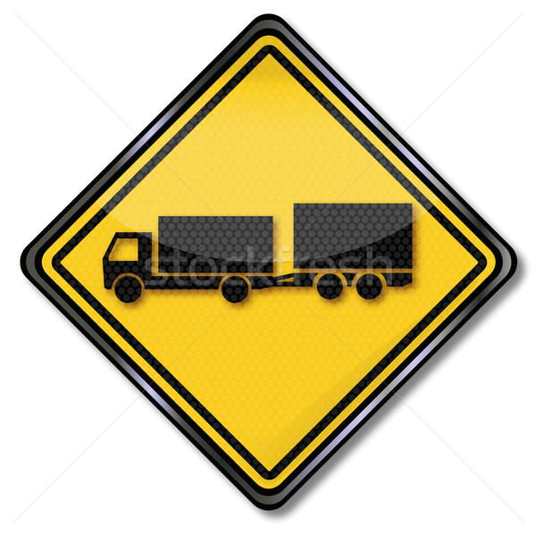 Sign with truck with uniaxial trailer Stock photo © Ustofre9