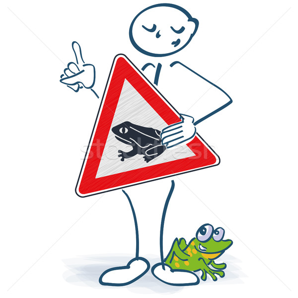 Stick figure with a shield frosting in front of the body and be careful for the frogs Stock photo © Ustofre9