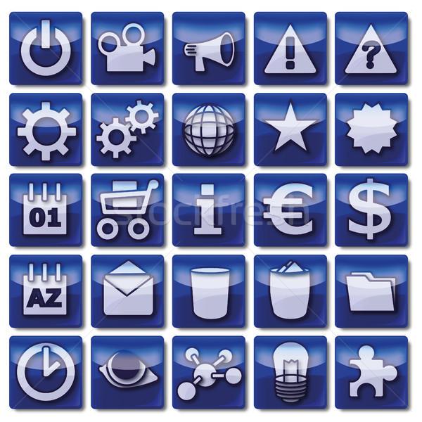 青 webアイコン ビジネス 眼 インターネット クロック ストックフォト © Ustofre9