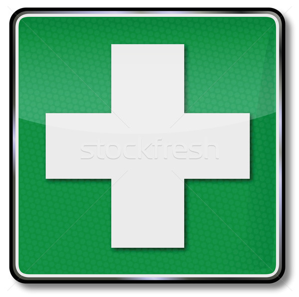 Fire safety sign cross, cry for help, first aid kit and first aid Stock photo © Ustofre9