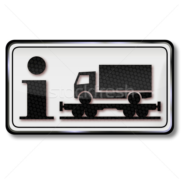 Signo tráfico información transporte camiones tren camión Foto stock © Ustofre9