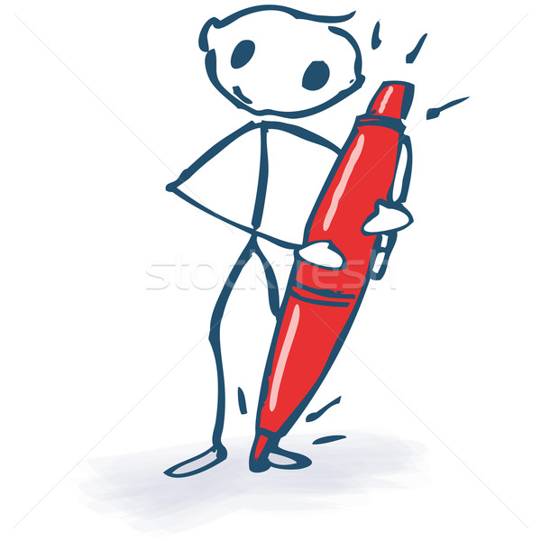 Stick figure with red pencil  Stock photo © Ustofre9