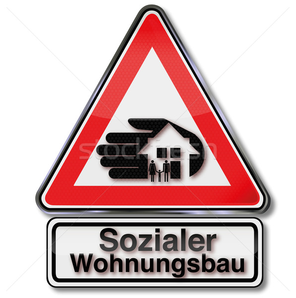 Sign with social, housing and housebuilding Stock photo © Ustofre9