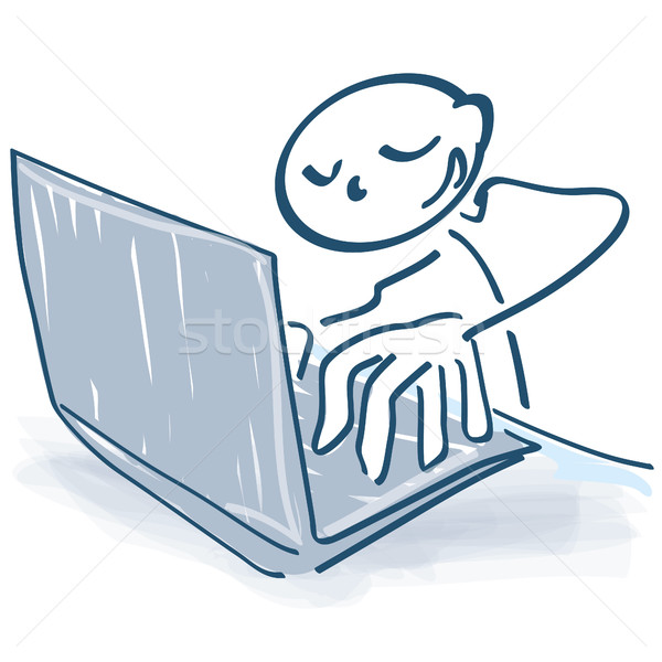 Pálcikaember számítógép szöveg számítógépek notebook képzés Stock fotó © Ustofre9
