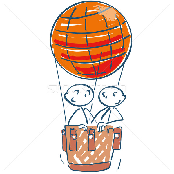 Stick figure in hot air balloon in the air Stock photo © Ustofre9