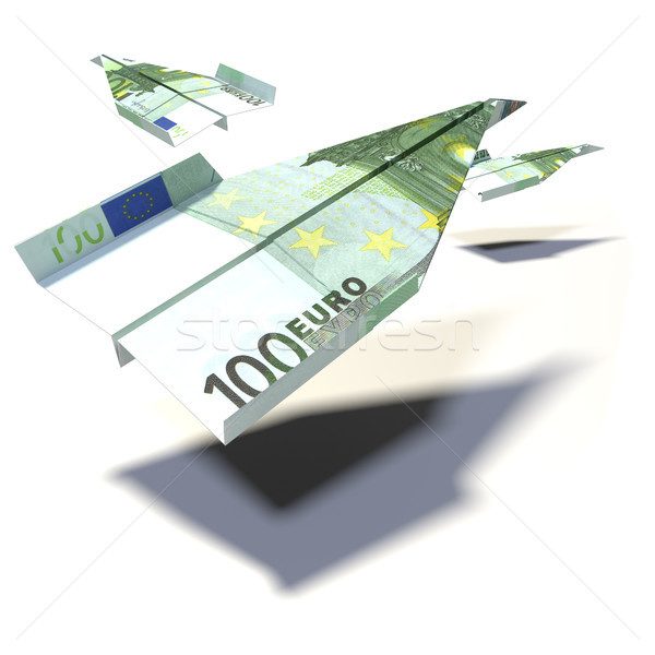 Paper planes made of a 100 Euro bill Stock photo © Ustofre9