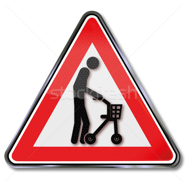 Sign old man with a rolling support Stock photo © Ustofre9