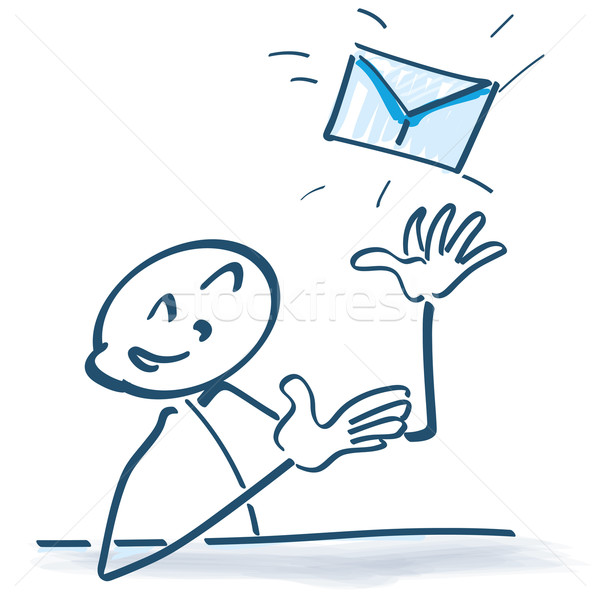 Stock photo: Stick figure with letter and e-mail