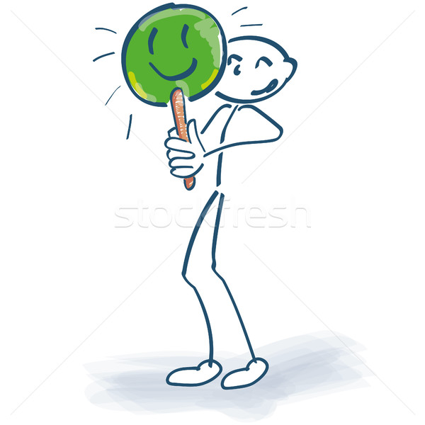 Stick figure with green label and yes we do it Stock photo © Ustofre9