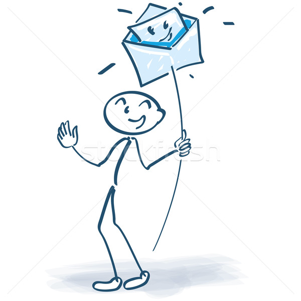 Stick figure with a letter or e-mail on a stalk Stock photo © Ustofre9