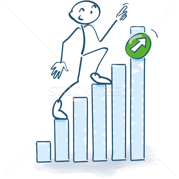 Stick figure going up the bar graph upwards Stock photo © Ustofre9