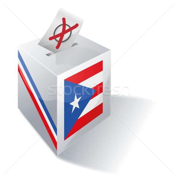 Stemmen vak Puerto Rico kruis vlag steen Stockfoto © Ustofre9