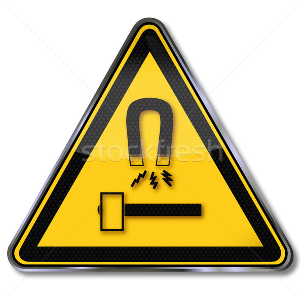 Danger sign warning protect tools and equipment against magnets and possible sparks Stock photo © Ustofre9