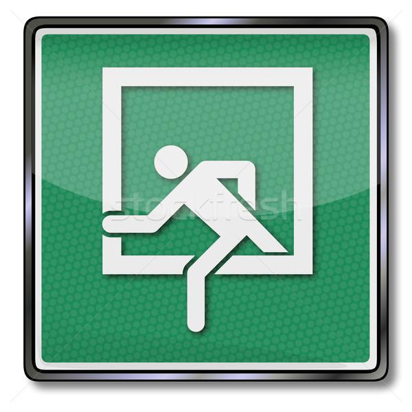 Exit sign Notfall verlassen Fenster Zeichen Label Stock foto © Ustofre9