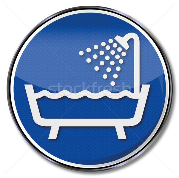 Segno doccia vasca da bagno acqua bagno servizio Foto d'archivio © Ustofre9