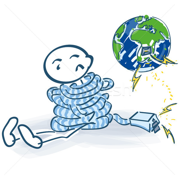 Stick figure tied up and no contact with the internet in the world Stock photo © Ustofre9