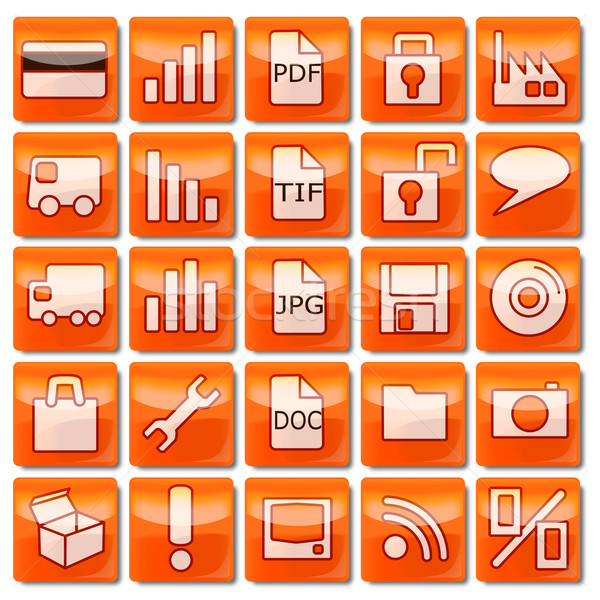 Orange Web Icons 2 Stock photo © Ustofre9
