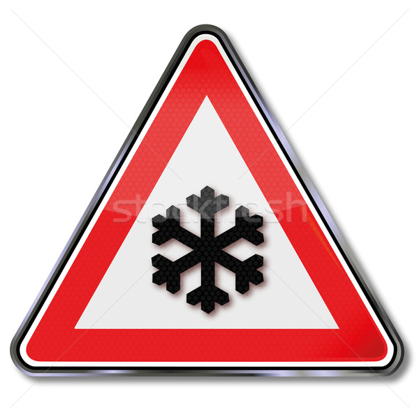 Traffic sign caution snow, ice and ice Stock photo © Ustofre9