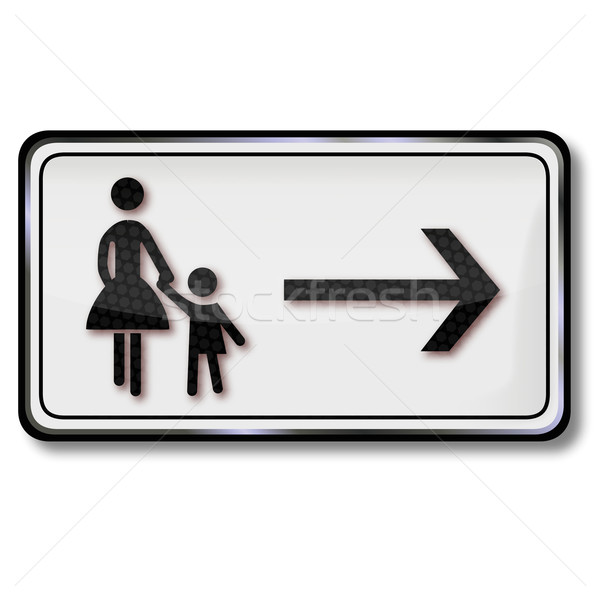 Traffic sign footpath and mother with child Stock photo © Ustofre9