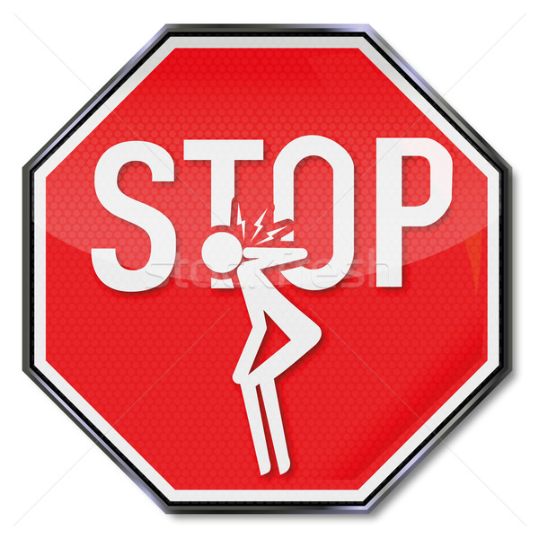 Stop sign for neck pain Stock photo © Ustofre9
