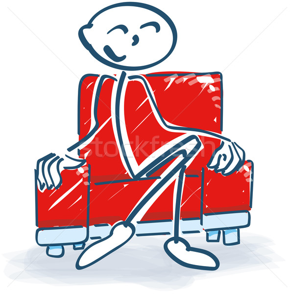 Stick figure with in a armchair Stock photo © Ustofre9