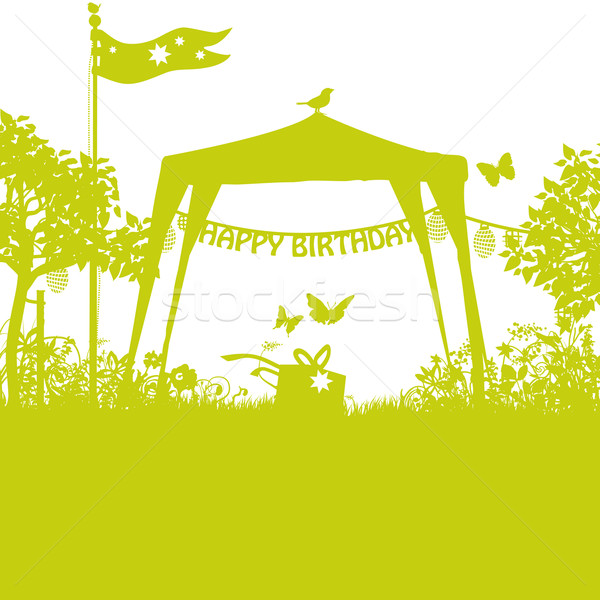 Pavilion and birthday lettering in the garden Stock photo © Ustofre9