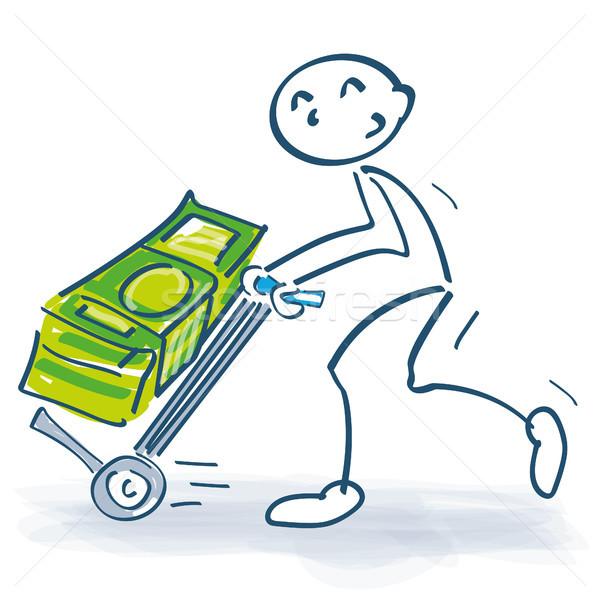 Stick figure with sackcloth and big bundle of money Stock photo © Ustofre9