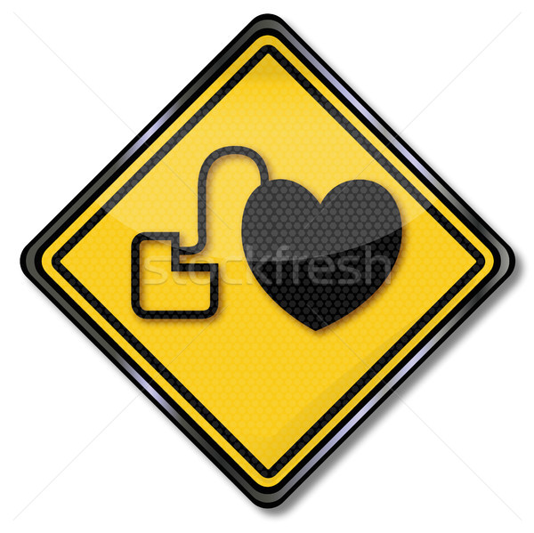 Shield with pacemaker and heart Stock photo © Ustofre9