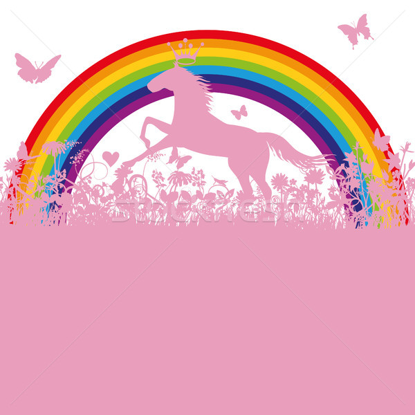 Cavallo Rainbow erba cuore libertà impianto Foto d'archivio © Ustofre9