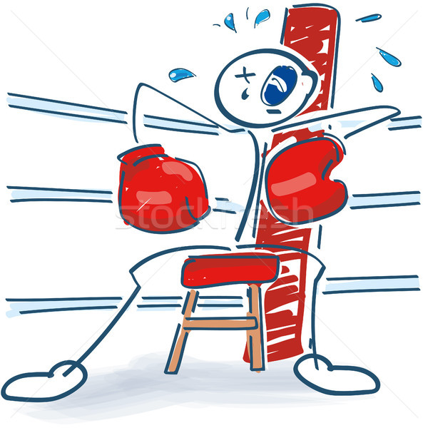 Stick figure as a boxer in the corner with a black eye Stock photo © Ustofre9