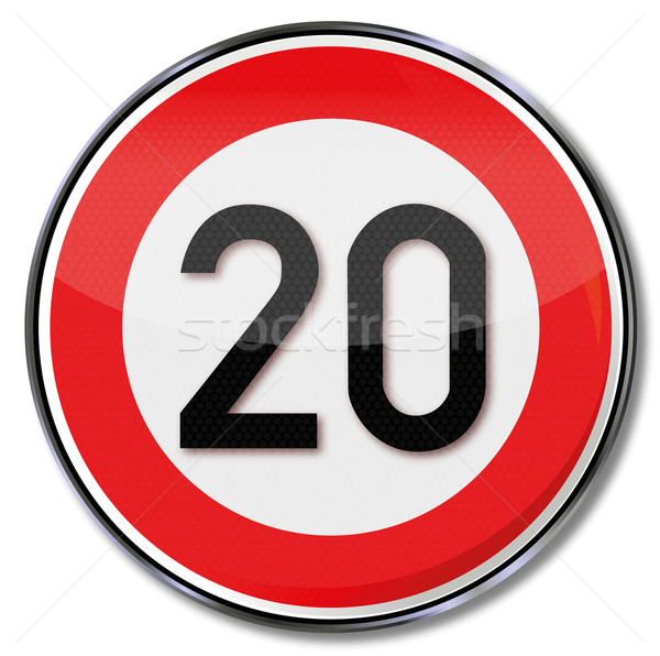 Traffic sign speed limit 20 kilometers per hour Stock photo © Ustofre9