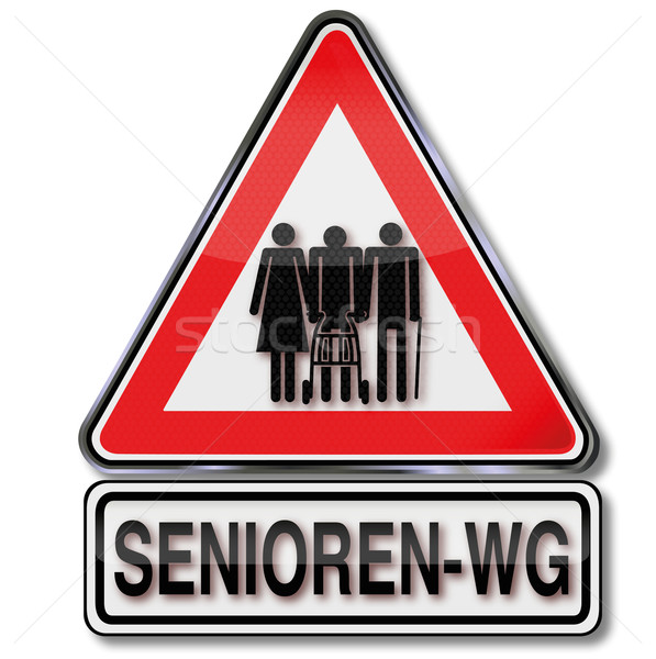 Sign seniors commune and old people sharing an apartment Stock photo © Ustofre9