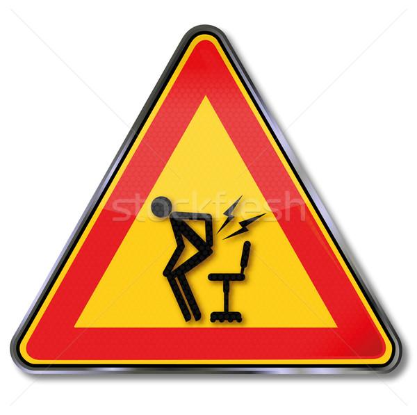 Felirat vigyázat fájdalom felfelé munka törvény Stock fotó © Ustofre9