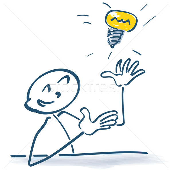 Stick figure with light bulb in the air Stock photo © Ustofre9
