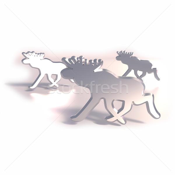 Jávorszarvas fém ikonok üzlet utazás szarvas Stock fotó © Ustofre9