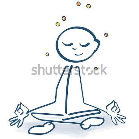 Stock photo: Stick figure cross-legged with yin and yang