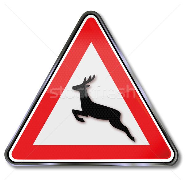 Traffic sign warning animal crossing  Stock photo © Ustofre9
