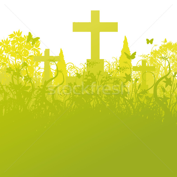 Blades of grass and grave stones Stock photo © Ustofre9