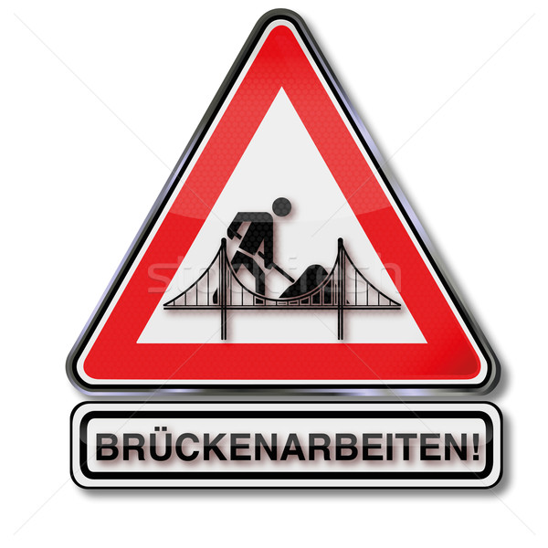 Közlekedési tábla híd autó építkezés forgalom utak Stock fotó © Ustofre9