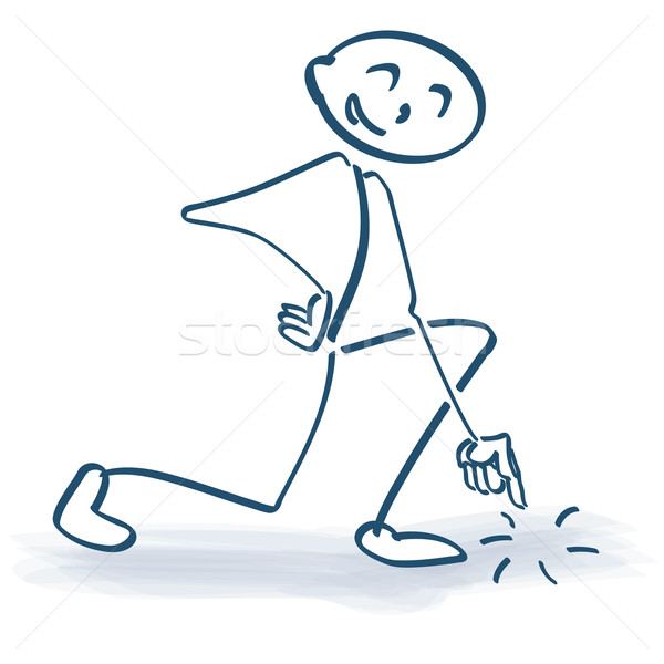 Stick figure with regard and pointing to the ground Stock photo © Ustofre9