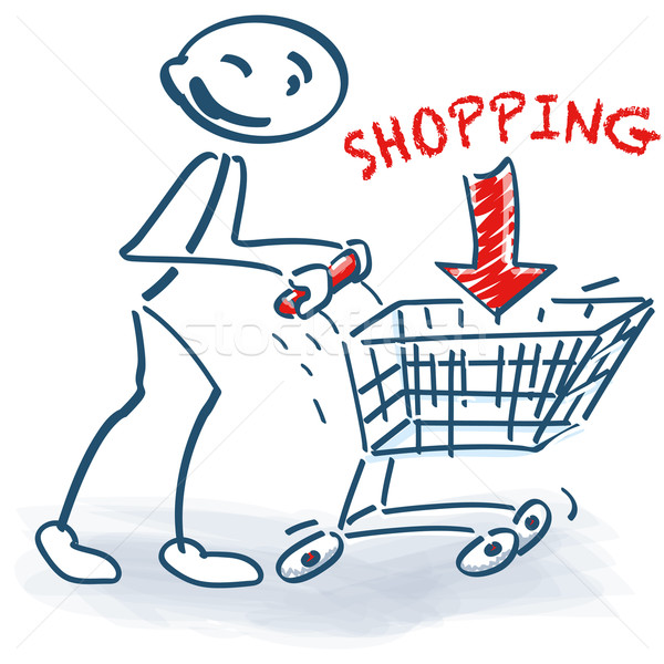 Pálcikaember bevásárlókocsi vásárlás háló bolt siker Stock fotó © Ustofre9