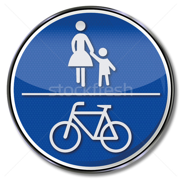 Sign pedestrian and bike path Stock photo © Ustofre9