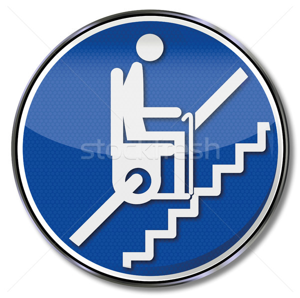 Stock photo: Sign pensioner on stairlift